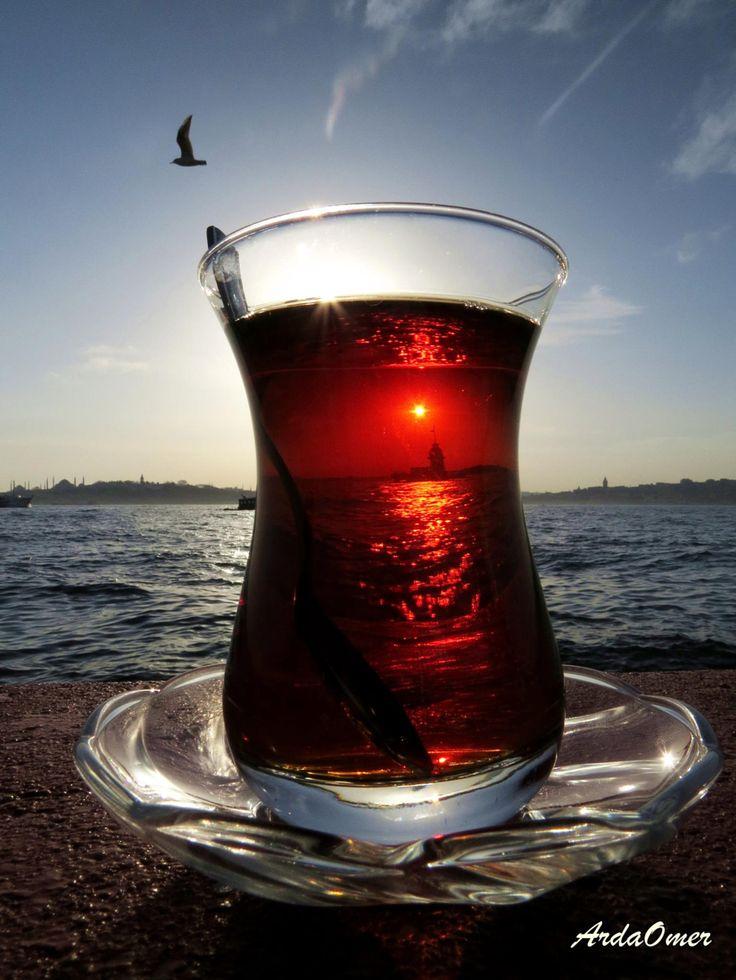 Turkish Tea and Maiden's tower..Uskudar,Istanbul