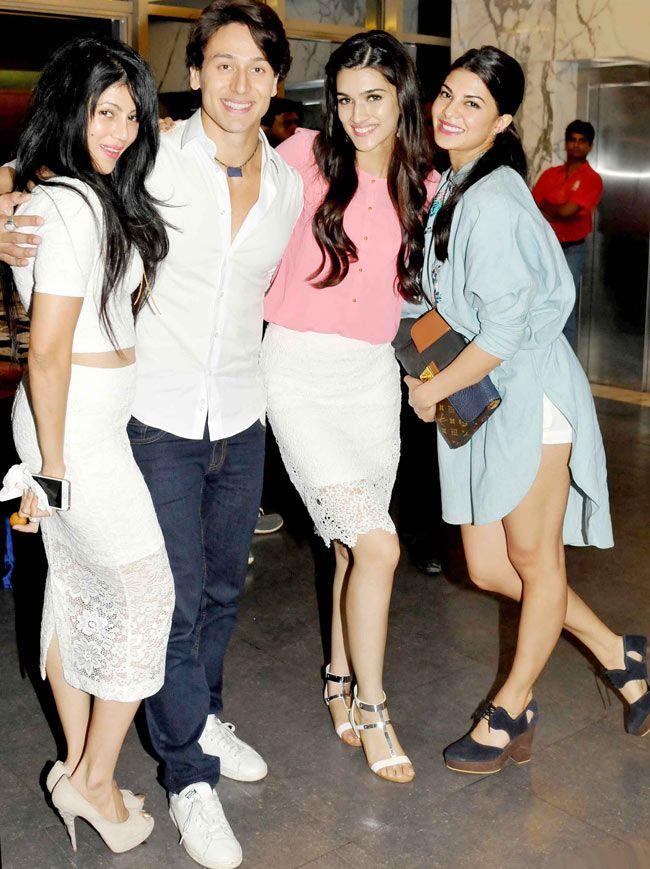 Wardha Nadiadwala with Tiger Shroff, Kriti Sanon and Jacqueline Fernandez at the…