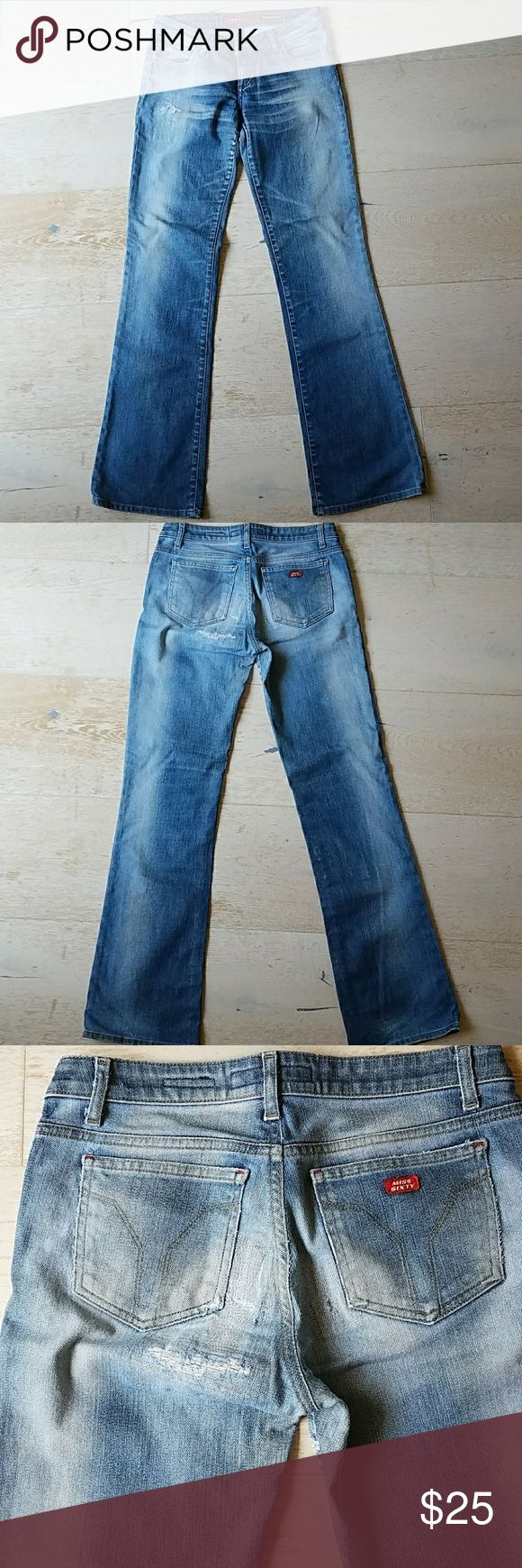 Miss Sixty Straight Tommy Jeans Italian jeans with stretch, size 29, worn in rear but perfectly patched. Miss Sixty Jeans Boot Cut