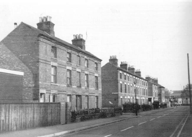 glebe street meadows nottingham,i lived at number 3 out of shot the other side of the road,facing the corner shop on colsterworth terrace,the other terrace was tealby.london road seen at the bottom,arkwright street at the other end,tyre shop and st saviours church .