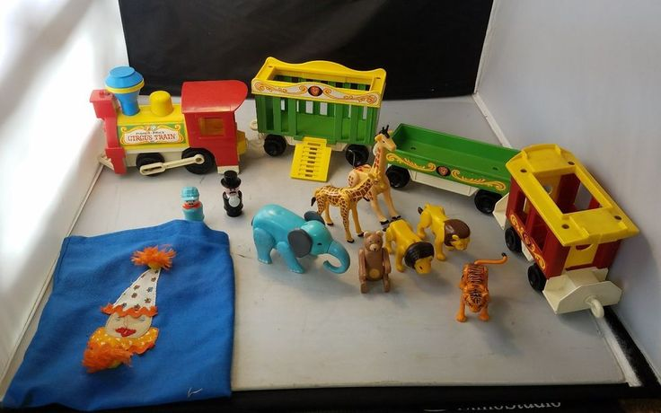 Vintage Fisher Price 991 Circus Train Little People LION TIGER BEAR ELEPHANT LOT    Good used condition overall     Comes with everything pictured, including little clown pouch to hold people    I found the monkey after the photos, he is included as well and the clown    Please inspect photos for more information     THANKS AND be sure to check out all our other collectibles for sale | eBay!