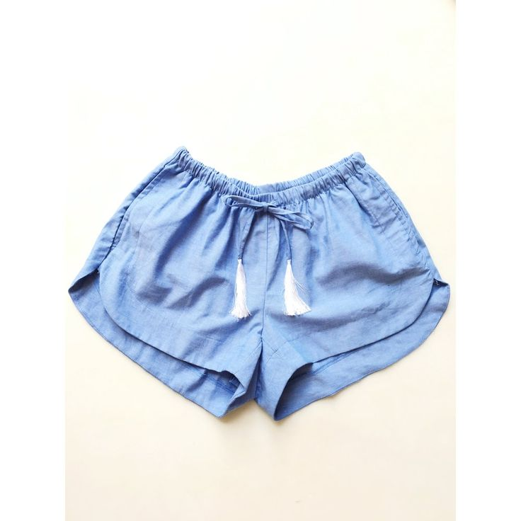 Shorts with adjustable waist. Scalloped hemline.  XS fits most 0-4   S fits most 4-6   M fits most 8-10   L fits most 10-12 100% Chambray.  Hand wash in cold water and line dry.