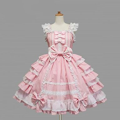 Mangas na altura do joelho-de-rosa de algodão branco do laço vestido de Lolita doce - BRL R$ 205,17