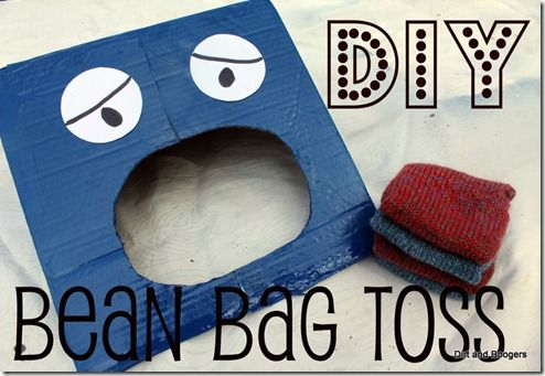 Homemade Toys: Bean Bag Toss: Toddlers Activities, Bags Toss, Cardboard Boxes, Homemade Toys, Beans Bags, Beanbag Toss, Bean Bags, Diy Beans, Diy Beanbag