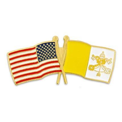 """USA and Vatican City Flag Pin. 1-1/8"""" W x 1/2"""" H. Gold plated with soft enamel colors. $3.95"""