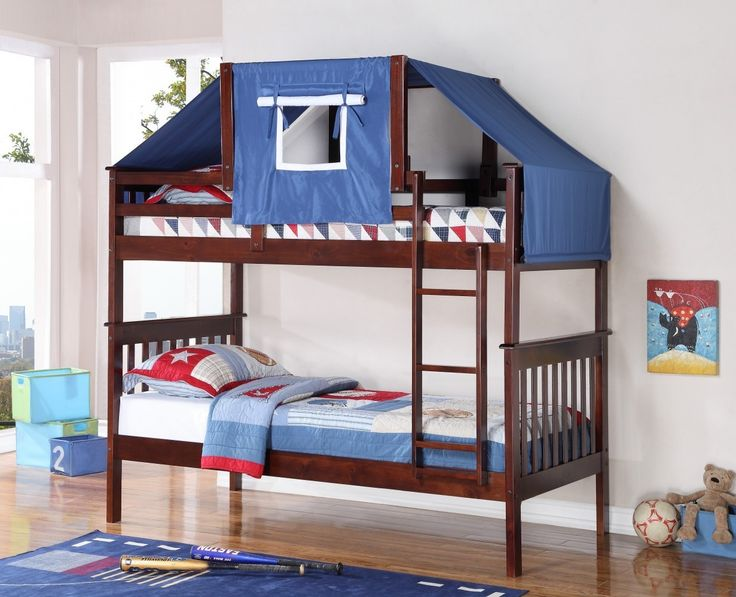 Transform the top of your child's low loft bed or bunk bed into an adorable fort with our bunk bed tent kit in blue with dark cappuccino framing! Please note this listing does not include the bunk bed