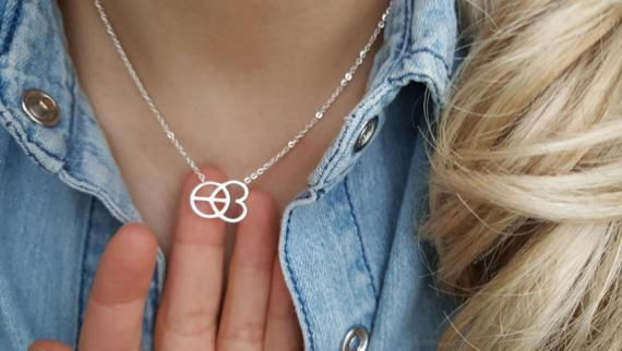 18k Gold Peace and Love Necklaces,Peace sign Necklace, Love necklaces,Birthday gift,Bridesmaid Gift,Christmas gift,wedding