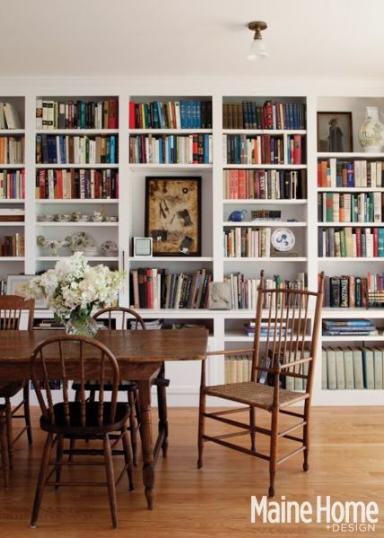 Dining Room / Library - Maine Home + Design the bottom part is partly closed and partly open, but lines up