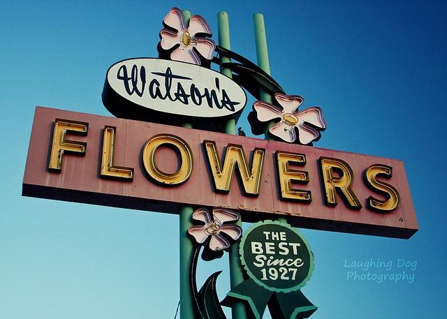 Vintage neon sign: Watson's Flowers in Mesa, AZ.