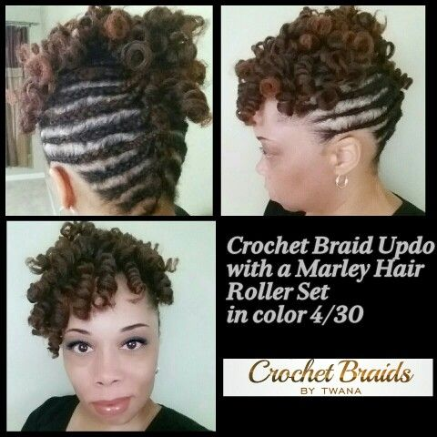 Crochet Braid Updo featuring a Marley Hair Roller Set in color 4/30. # ...