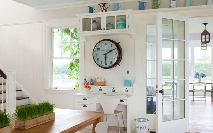 love the watering cans on the top shelf -Ali SchwarzDesks Area, Black Interiors, Interiors Design, Kitchens Offices, Wall Clocks, Design Group, Transitional Home, Home Offices, Alice Black