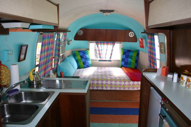stripey floors!  #vintage #airstream #camper interior