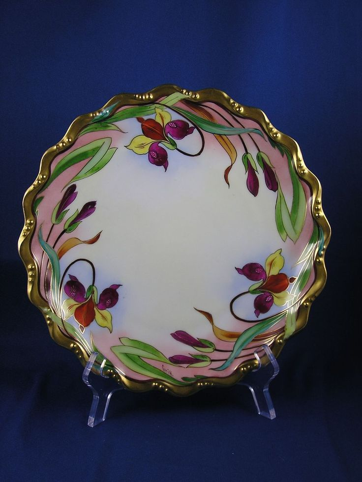 """Coiffe Limoges E.W. Donath Studio Iris Design Plate (Signed """"Griff."""" for Harry R. Griffiths/c.1910-1915)"""