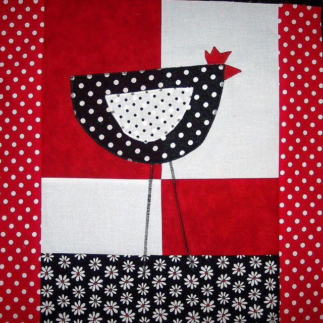 polka dot chicken quilt block!