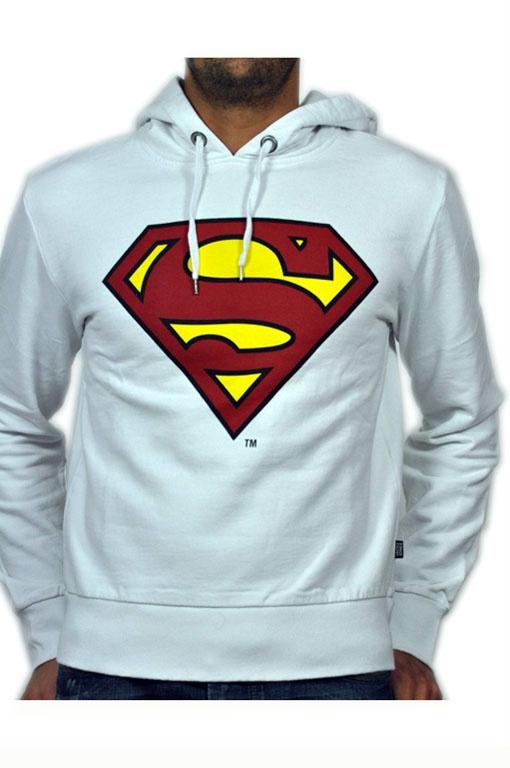 Felpa Jack bianca con cappuccio e logo Superman