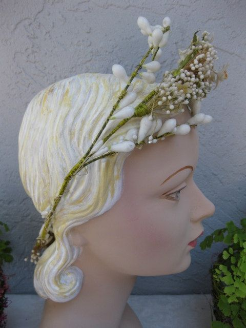 Antique Victorian Wax Flower Wedding Headpiece With Rhinestones Bri