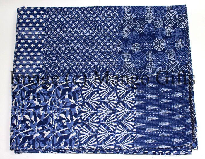 Indigo Kantha Vintage Bedspread Indian Handmade Quilt Throw Cotton Blanket Queen #Handmade #HandmadeKanthaWork