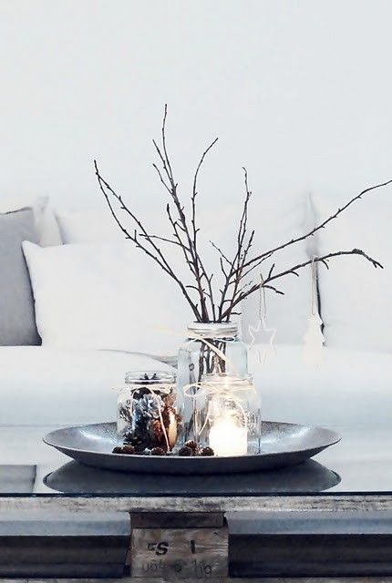 cozy centerpiece// Maybe aqua bell jar with silver sprayed branches held in place with epsom salts, and blue christmas balls around them for bay window-BB