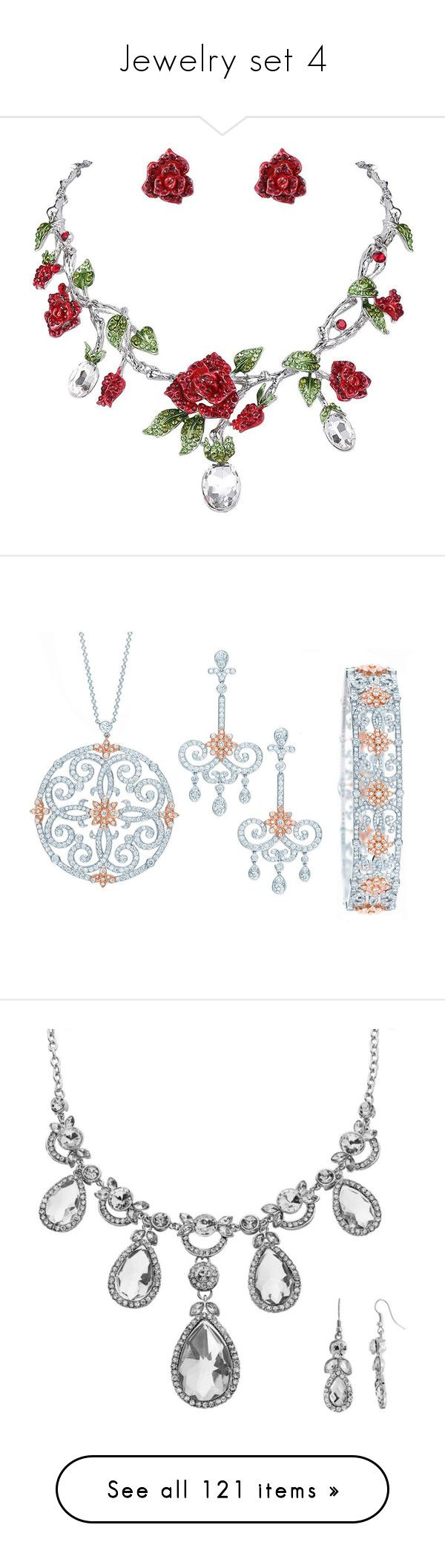 """""""Jewelry set 4"""" by thesassystewart on Polyvore featuring jewelry, earrings, crystal flower earrings, clear crystal earrings, green crystal earrings, rose flower earrings, crystal earrings, accessories, white and fish hook earrings"""