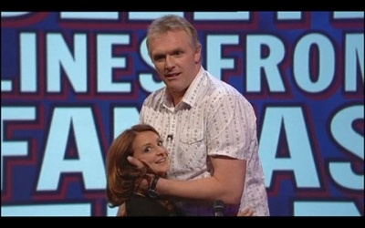 """Greg Davies and Lucy Porter - he's 6'8"""", she's 4'11"""" & in high heels."""