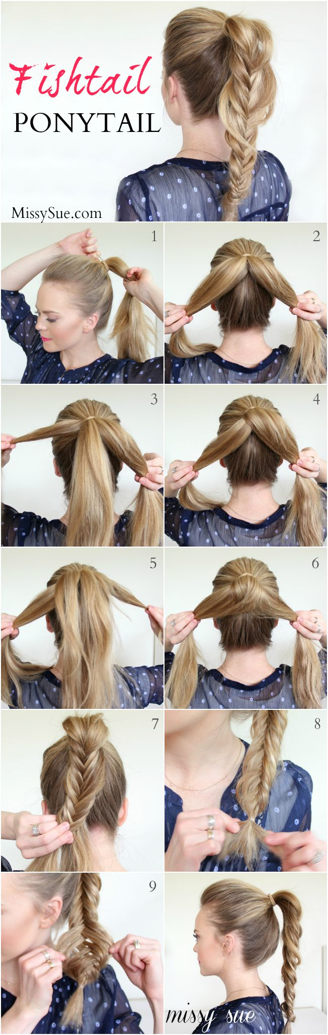 fishtail pony tail missy sue blog Braid 7 Fishtail Ponytail