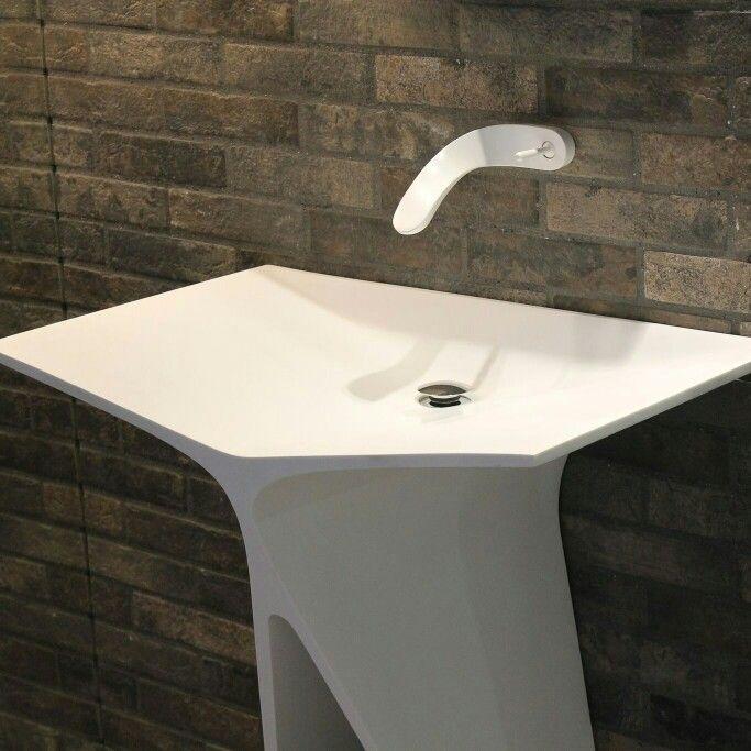 MyBath Silence standing washbasin designed by Mac Stopa  www.mybath.pl  #mybath #corian #coriandesign #bathroomdesign #bathroom #interiordesign #modernbathroom #luxurybathroom #luxury #chillout