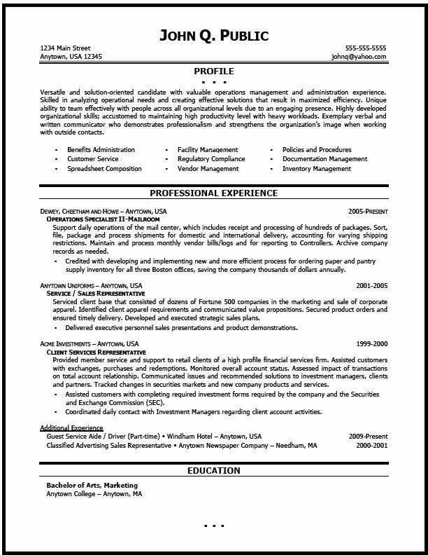 Customer Service Manager Resume Unique Operations Manager Resume Sample The Resume Clinic Chronological Resume Operations Management Sample Resume