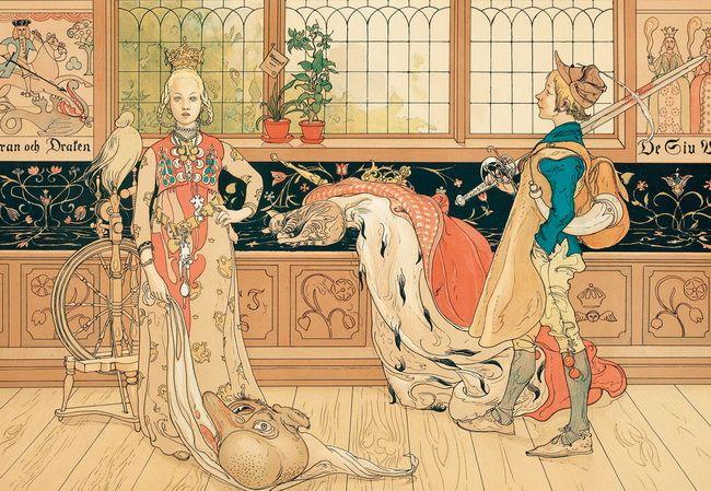 「聖ジョージと王女」(1896年) カール・ラーション画龍を退治した英雄ジョージの物語は広く知られている。ラーションはそれを子どもの仮装劇の1シーンとして描いている。20世紀に入るとラーションは家庭の日常的シーンに向かっていくが、世紀末ではまだラファエル前派のバーン=ジョーンズなどの影響で、中世騎士物語風の情景をとりあげている。背後のパネルの模様はケルトやイスラム風で、アール・ヌーヴォーの曲線を持っている。王女の足下の怪物(龍)の首も東方的である