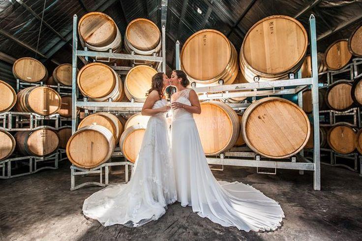 Beautiful wedding photos in the barrel storage room