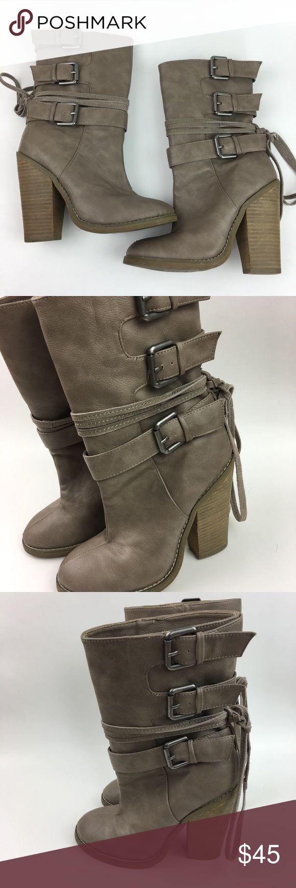 Colin Stuart Tan Heeled Boots Colin Stuart women's Tan Heeled Boots. Buckles details. Ties in back. Size 6B. Heel measures 4.5. Colin Stuart Shoes Heeled Boots