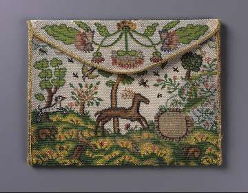 "Rectangular envelope style pocketbook. Polychrome opaque and translucent glass beads strung with linen thread, held together by interlocking looping stitches (sablé). Obverse: pastoral scene with deer, dog, birds and rabbits. Reverse: phoenix rising from fire, two large flowers, insects, sun and inscription on banner above phoenix: ""SI IE MEVR CE N'EST QVE POVR REVIVRE""; inscription across top: ""IL SAIT GARDER VN SECRET IMPORTANT."" Flap: floral motif. Green silk taffet..."
