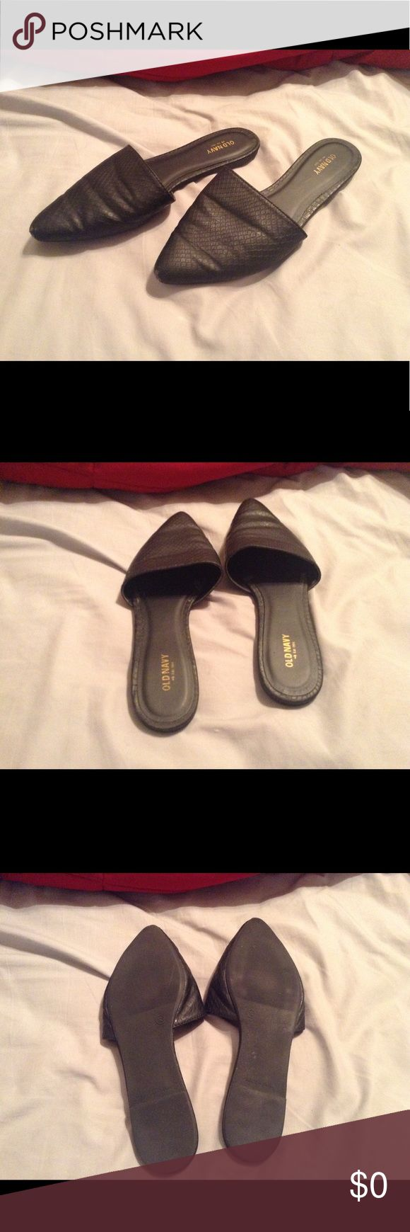 Old Navy mule flat slippers Looking to find more of these shoes in size 10 and larger, preferably 11-12. Any and all conditions will be considered. Old Navy Shoes Mules & Clogs