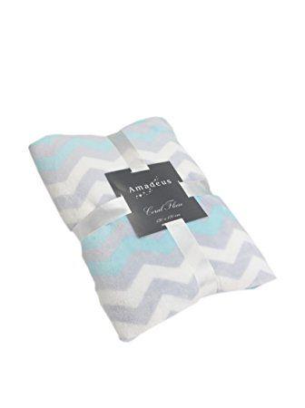 Plaid zig zag bleu blanc gris amadeus 130 x 170