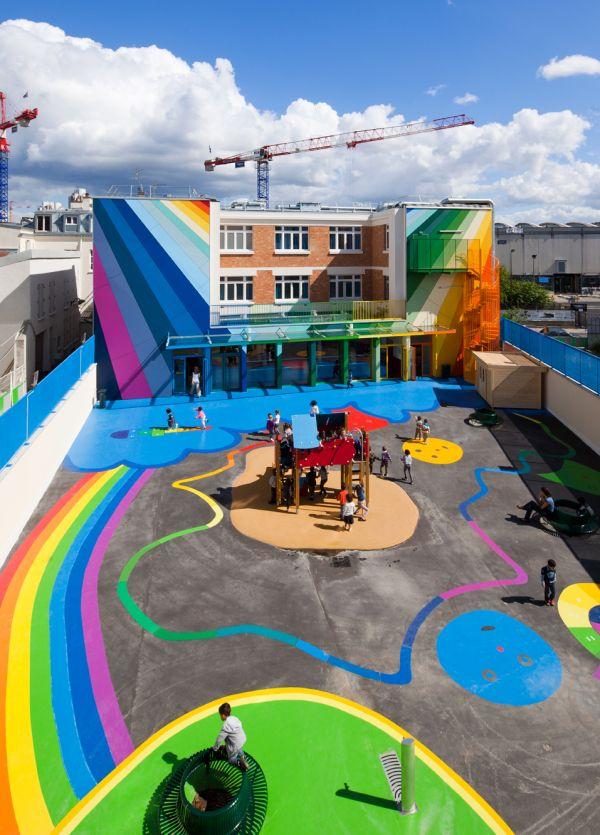Invigorating Rainbow Design of a Kindergarten