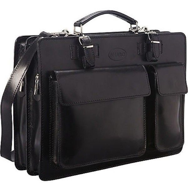 Sharo Black Italian Leather 15-inch Laptop Briefcase (190 AUD) ❤ liked on Polyvore featuring bags, briefcases and black