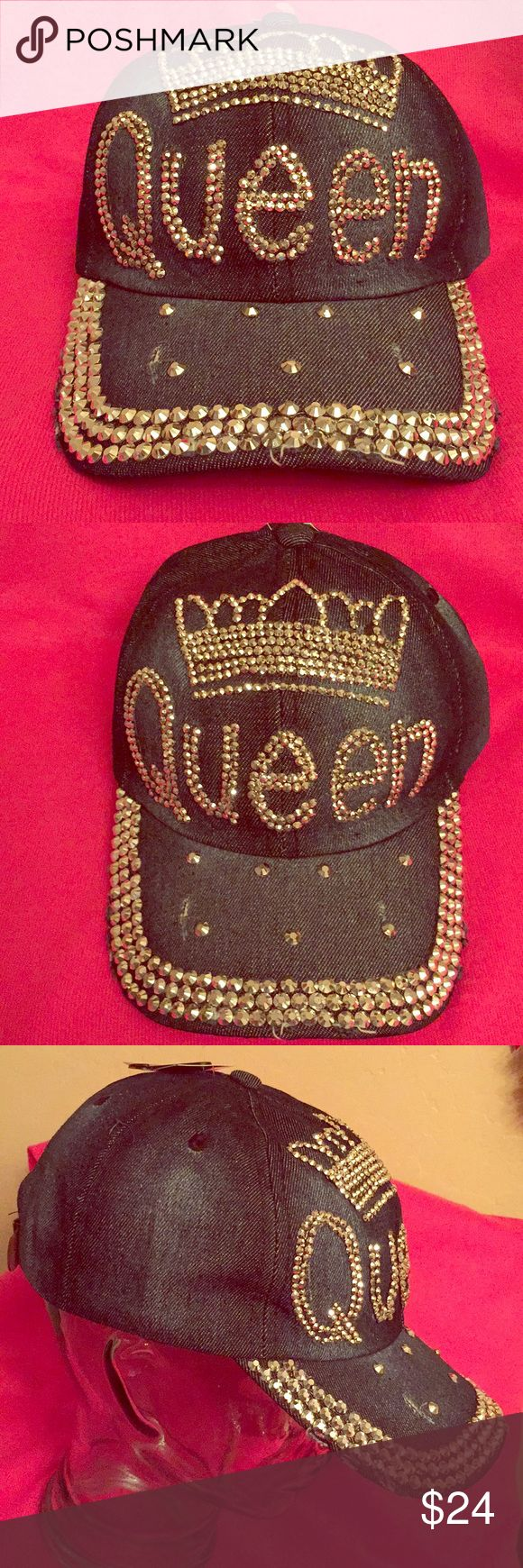 🆕 ONLY 2! Queen Studded Bling Cap Bling in the New Year Wearing Authentic NYC Underground Queen Studded Denim Cap. OS. Distressed Dark Blue Denim. Silver Studs spell out Queen with an Actual Studded Crown On Top. Studs also serve as Accents on the Front & the Bill. Frayed Bill. Vented. 100% Cotton. Adjustable Brown Vegan Leather Back. Brand New. Excellent Condition. No Trades. See Other Cool Caps in My Closet. 🧢🧢🧢 NYC Underground Accessories Hats