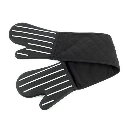 Dunelm Black Striped Silicone Double Oven Glove