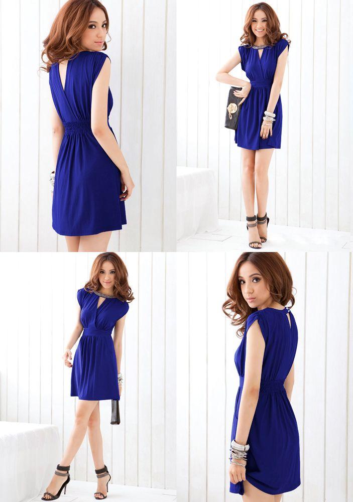 2015 para mujer del resorte vestido de partido delgado del diseño del cortocircuito rebordear cintura alta de una sola pieza de banquetes formal para mujer de vestido azul envío gratuito en Vestidos de Moda y Complementos Mujer en AliExpress.com | Alibaba Group