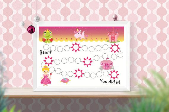 Printable princess potty chart Pink girls training chart