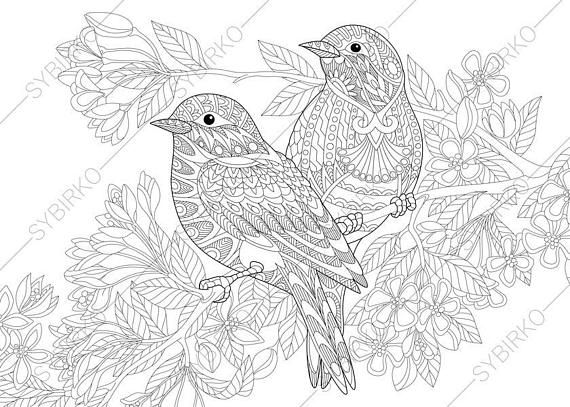 Coloring Pages For Adults. Lovely Birds Couple. Spring Etsy Bird  Coloring Pages, Animal Coloring Pages, Animal Coloring Books