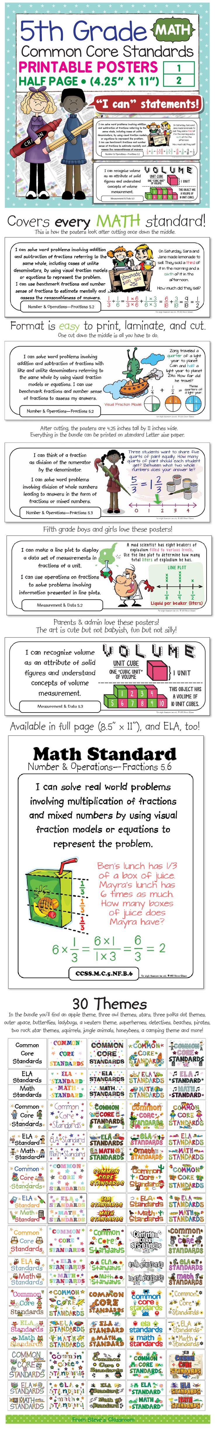 "I can statement posters for the fifth grade math Common Core Standards. Every standard is written as an ""I can"" statement and illustrated with a helpful example. IN addition to all the illustrated I can statements, there are heading cards in over thirty different themes, from apples to superheros! Highly rated and classroom proven."