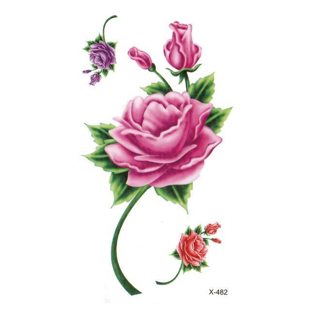 Wyuen 2017 New Hot Waterproof Temporary Tattoo Stickers for Adults Kids Body Art Red Rose P-058 Fake Tatoo for Man Woman Tattoos
