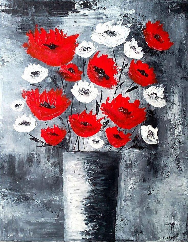 """Tableau moderne coquelicots rouges et blancs"""" - tableau coquelicots rouge et blanc - Sabrina RIGGIO (2017) : Peintures par sabrina-riggio"""