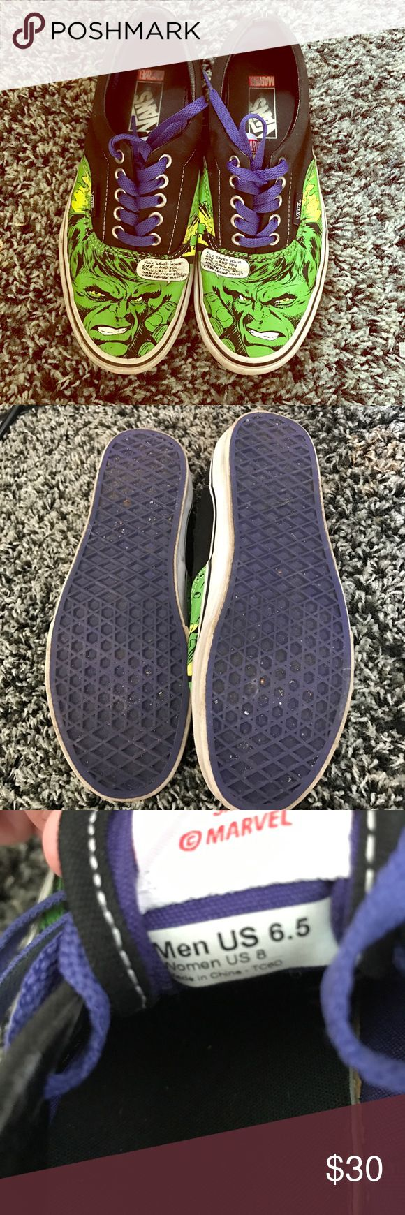 Marvel Comics Hulk Edition Vans They have purple laces and soles. Size 8 women and 6.5 for men and lightly used. Vans Shoes Sneakers
