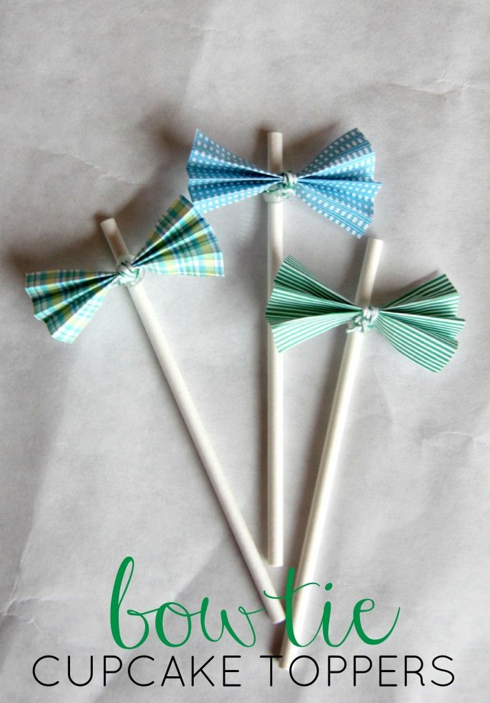 Baby Shower Ideas - Easy and Cute DIY baby shower cupcake toppers - perfect for a little man bow tie baby shower!
