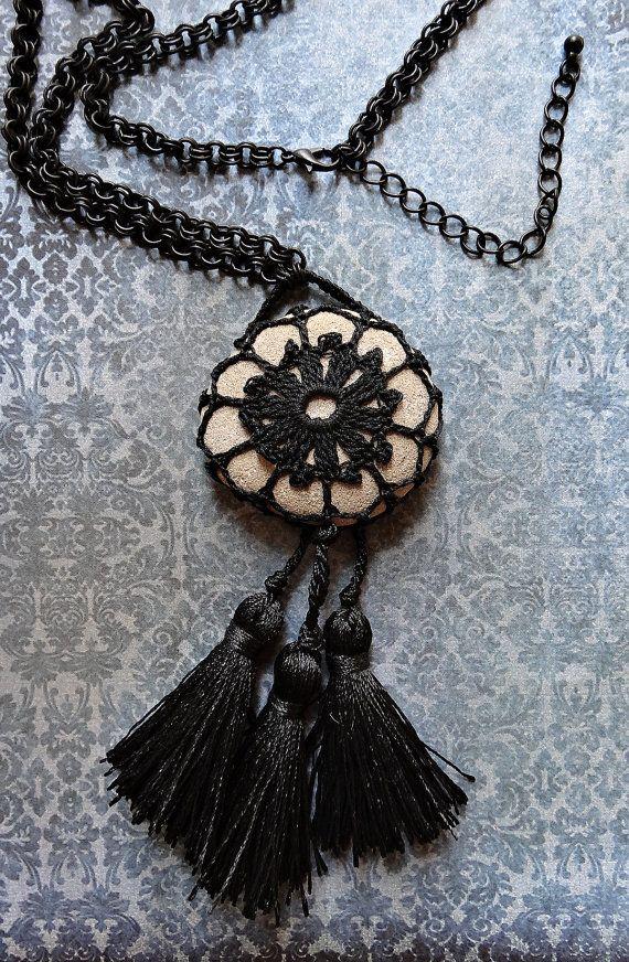 Crochet Stone Statement Necklace // Handmade // Monicaj // Tribal, Jewelry, Boho