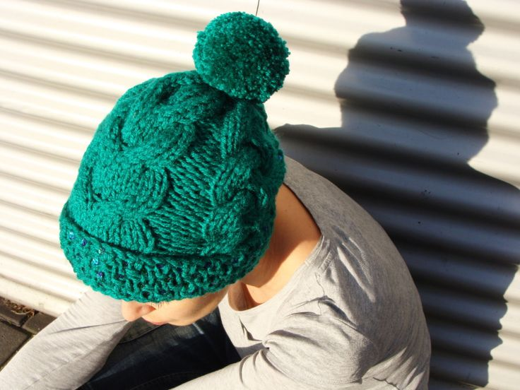 Nudakillers - beanie, cable knit, emerald, sequins, handmade, knitted