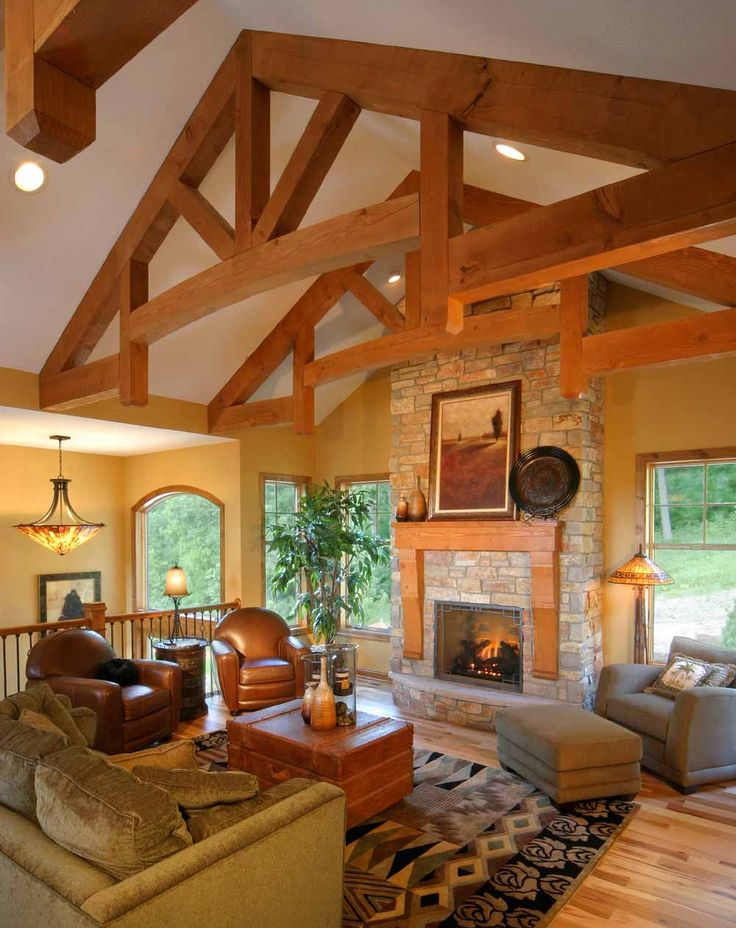Glulam Truss Log Home Interiors Wood Truss House Flooring
