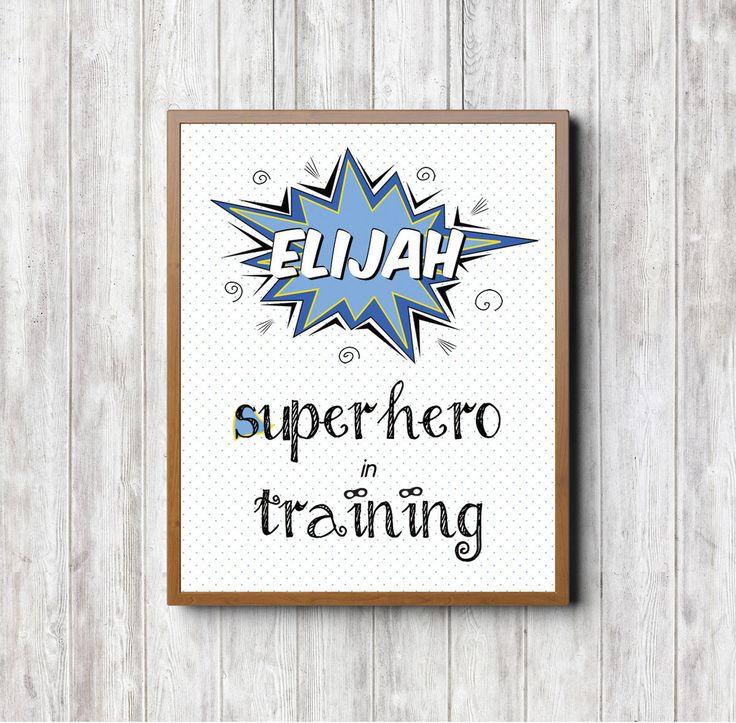 'Superhero in Training' Custom Print (Blue). Nursery print. Baby print. Nursery decor. Kids room. Kids room decor. Kids print. Custom baby gift. Custom nursery decor. Superhero print.