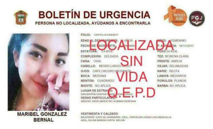 Maribel estudiante de enfermería nunca llegó a clases la hallan muerta en Edomex - proceso.com.mx